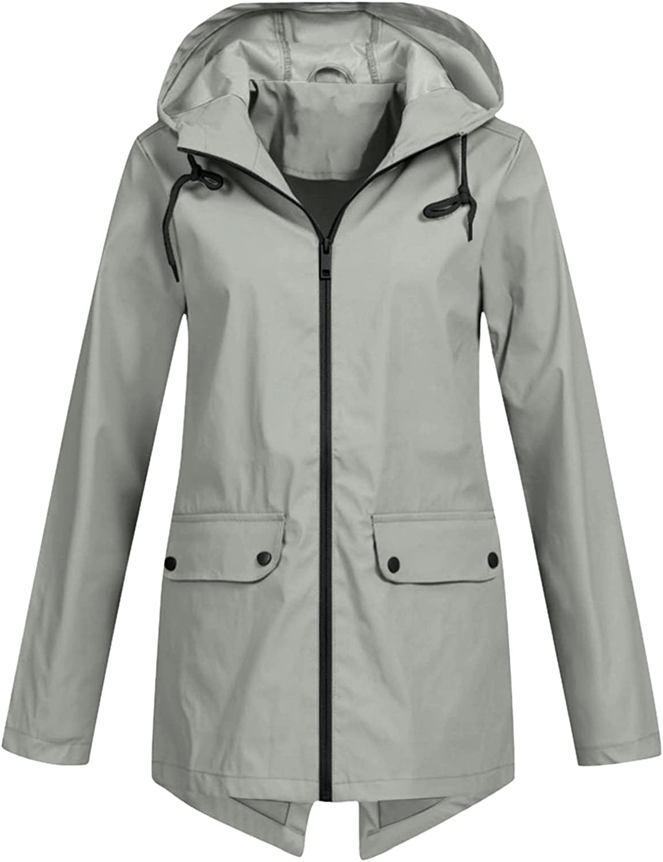 Longline Windbreaker Jacket Women Solid Color Waterproof Hoodie Coat Button & Zip Closure Pockets Raincoat