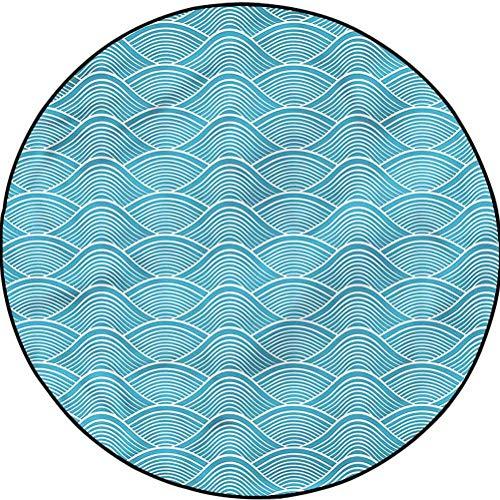 Blue Modern Round Rugs Easy to Clean Stain Fade Resistant Japanese Ocean Sea Waves Diameter 67 in(170cm)