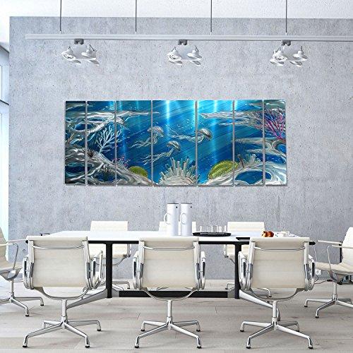 Jon Allen Metal Art Huge Underwater Wall Art Painting, Nautical, Beach Decor, Deep Blue Sea, 96″ x 36″