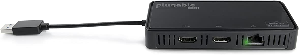 Plugable USB 3.0 Dual 4K HDMI 2.0 Adapter with Gigabit Ethernet for Windows (Supports Two HDMI Displays up to 3840x2160@60Hz, Windows 10, 8.1 & 7)