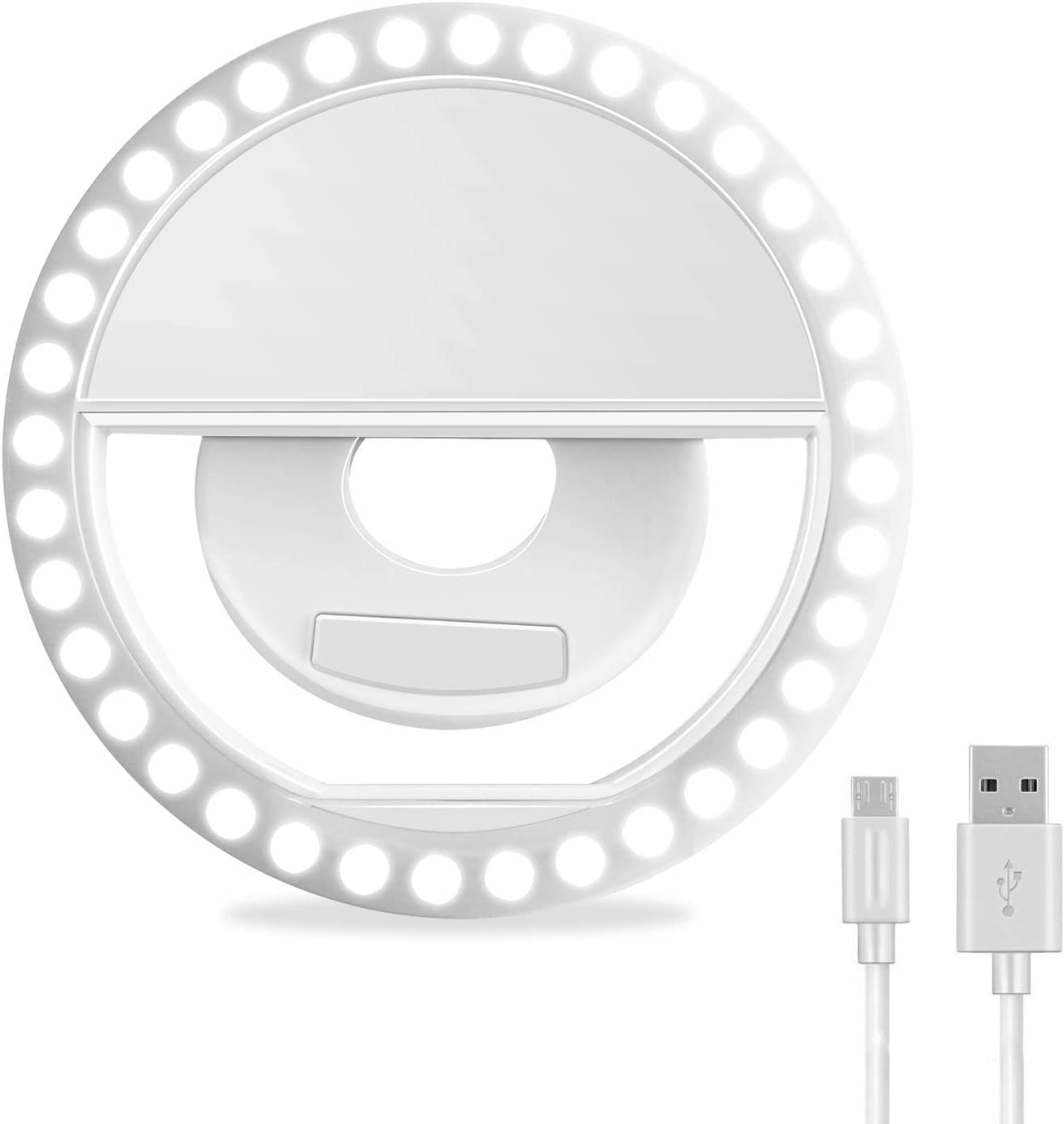 XINBAOHONG Rechargeable Portable Clip-on Selfie Ring Light for iPhone & Android Smart Phone Photography