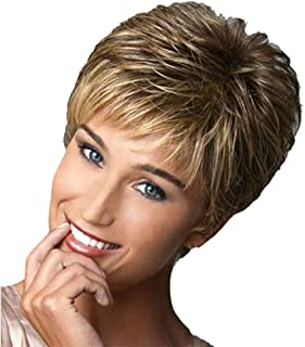 Zlolia Short Pixie Cut Wigs for Women Blonde Mixed Brown Synthetic Layered Hair Wig with Bangs