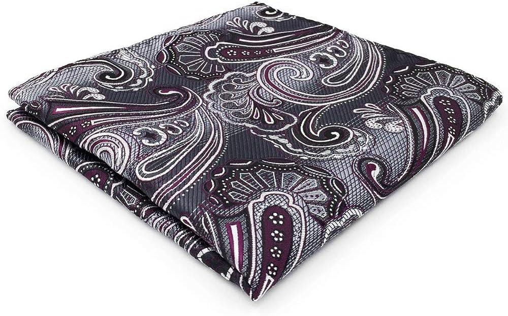 SHLAX&WING Purple Grey Mens Silk Pocket Square Paisley 12.6 inches Large Hanky