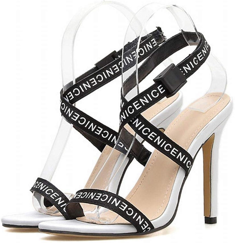 FELICIOO Damen High Heels Letter Ribbon Ribbon Ribbon Sexy Cross Stiletto Sandalen mit hohem Absatz (Farbe   Weiß, Größe   38)  9b5640