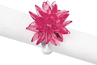 Fennco Styles Crystal Design Collection Napkin Ring - Set of 4 (Pink Crystal Flower)
