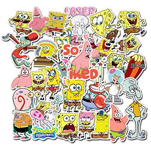 BUCUO Cartoon Cartoon Spongebob Squarepants PVC Waterproof Sticker Suitcase Skateboard Bike Graffiti Sticker Cute 50Pcs