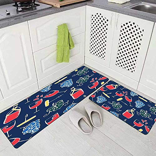 Doocilsh Kitchen Rugs,Kitchen Rugs Washable for Women and Men,17X48+17X24Inches Red Wine Party...