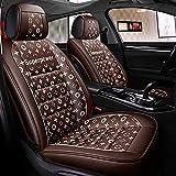 N\A Car Seat Cover Set Completo Resistente al Desgaste Cuero y Empalme de Tela Respirable Respirable cómodo el Ajuste Universal más 5 Asientos de automóviles, Camiones, SUV (Color : Coffee)