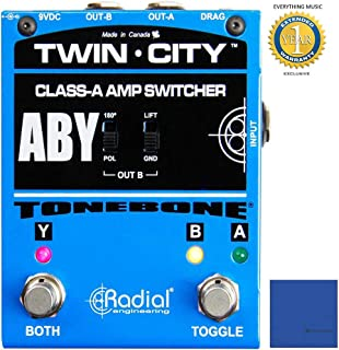 Radial Bones Twin City Active ABY Amp Switcher Pedal with Zorro Polishing Cloth