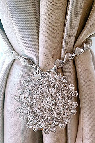 BTSKY 2 Packs Magnetic Crystal Curtain Tiebacks -Decorative Curtain Drapery Holdbacks Buckle with Stretchy Wire Rope Silver