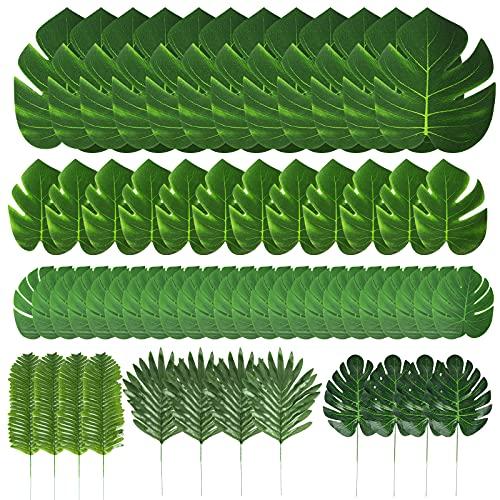 60pcs 6 Arten künstliche Palmenblätter,Tropische Palmenpflanze Blätter Künstlich für Tropische Party deko, palmenblätter für Hawaiian Luau Jungle Beach Geburtstag Theme Deko