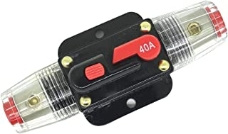 ZOOKOTO 12V-24V DC 40A Car Audio Inline Circuit Breaker Reset Fuse Holders Inverter for Stereo Switch System Protection 40 Amp