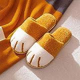 zapatillas casa hombre invierno,Zapatillas de algodón para mujer, otoño e invierno, hogar, pata de gato, dibujos animados, linda pareja, cálidas zapatillas de felpa para interiores, hombre-amarillo_3