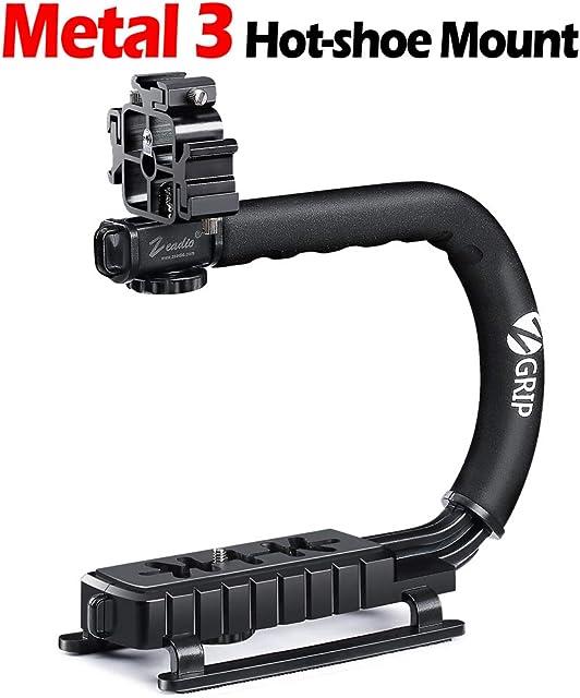 Zeadio Estabilizador portátil con 3 zócalo Accesorio para Canon Nikon Pentax Sony Panasonic Samsung y Olympus cámara videocámara