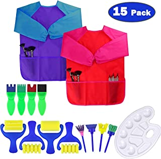 Dreampark Art Smock for Kids, Children Art Aprons - Paint Brushes - Color Palette for Toddler Painting Art and Craft Suppl...