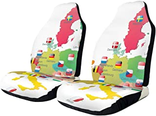 SLHFPX Car Seat Cover The European Union Map with Flags SUV Truck Seat Covers Front Bucket Auto Car Seat Protector Covers for Women Men Kids, Universal Fit Most Car, Van, Sedans, Vehicle