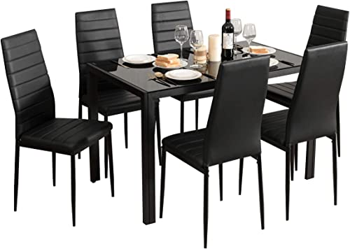 wholesale Giantex Kitchen Dining online sale Table Set, Glass Tabletop Dining Room Set with Leather online Padded 6 Chairs, Rectangular Modern Metal Frame Table for Dining Room, Kitchen, Dinette, Compact Space, Black outlet sale