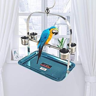 perfecti Perchoir Perroquet en Acier Inoxydable Oiseaux Perches Perroquet Stand Jouet avec Mangeoire Formation Interactif ...