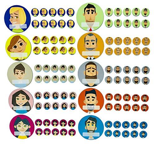 SMILEYBOARD Team Avatar Icon Magnete - Set aus 10 verschiedenen Avatar-Magneten für Büro - inkl. wasserlöslichem Stift
