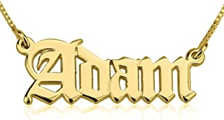 Personalized Custom 24K Gold Plated Old English Script Name Necklace Jewelry