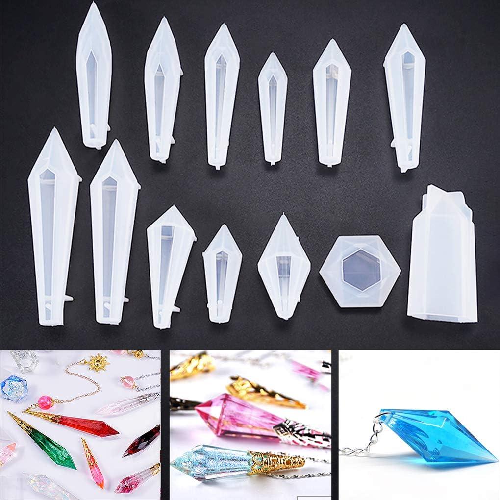 13 moldes de silicona para resina epoxy forma de cristal