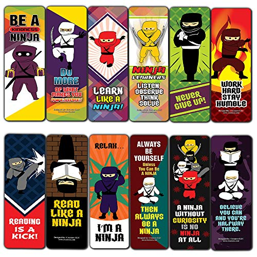 Ninja Bookmarks Cards (12-Pack) - Awesome Bookmarks for Men, Women, Boys, Girls, Teens – Six Bulk Assorted Bookmarks Designs – Book Reading Rewards – Awesome Page Binder Pack