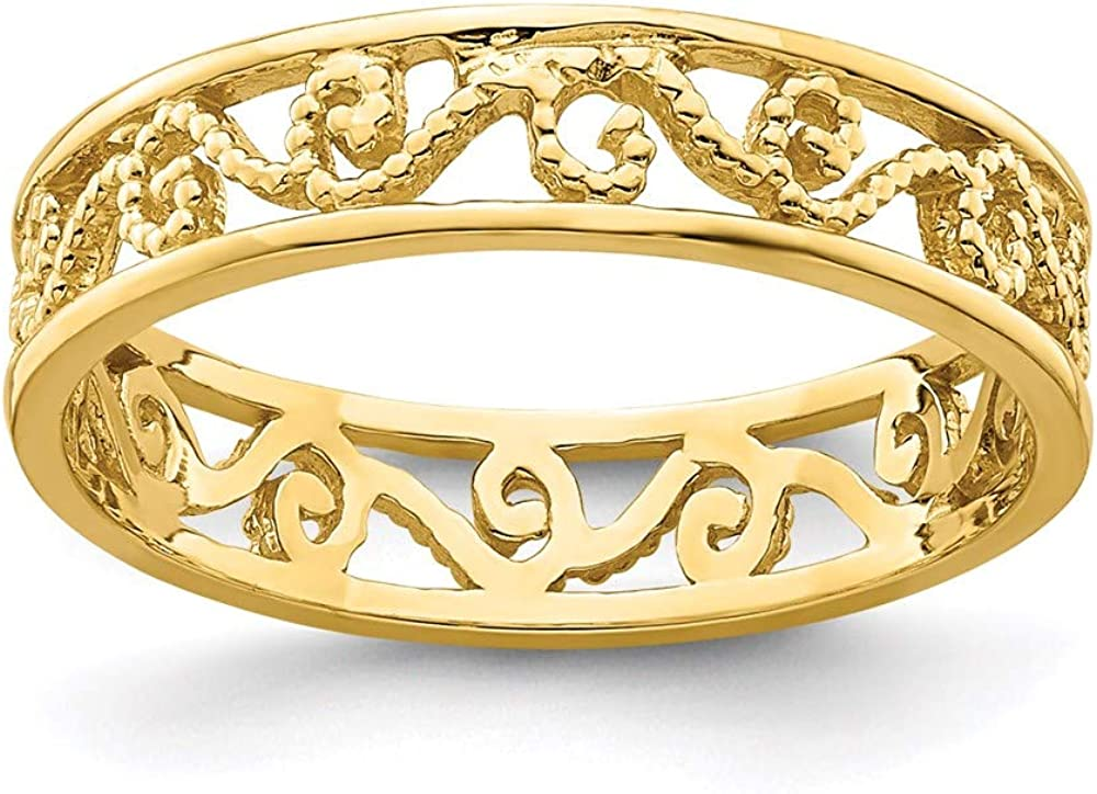 14k Yellow Gold Beaded Scroll Ranking TOP15 Cut-Out Toe Wedding Ring Band specialty shop