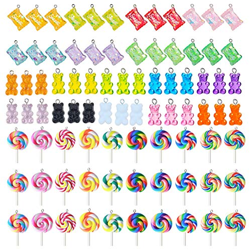 DTMEFJ 84 Colorful Candy Pendant Charms,Including 30 Bear Candy Pendant Charms,24 Sweet Candy Charms,and 30 Lollipop-Shaped Polymer Clay Pendant Charms for Earring Bracelet DIY Jewelry Making Pendants