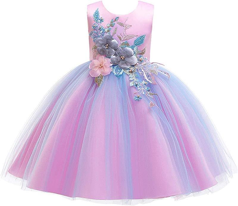 MoMo Elegant Girls New Lace Puff Princess Dress Baby Wedding Birthday Dress Girls Dance Party 2019 Children S Wear Pink 8