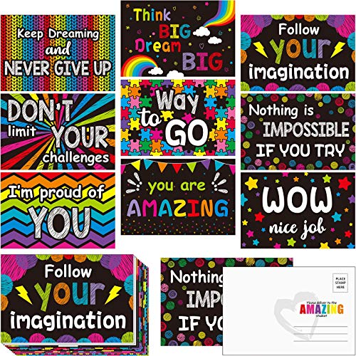 45 Pieces Thinking of You School Postcards Motivational Inspiration Teacher Posters Colorful Blackboard-Themed Blank Postcards Positive Notecards Encouragement Accents for Students Graduation Cards
