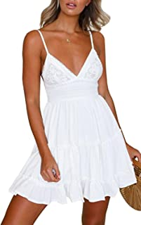 Women Sexy Spaghetti Straps Dress Sleeveless Deep V Neck Bowknot Backless Mini Swing Short Dresses