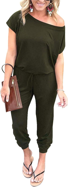 PRETTYGARDEN Women's Loose Solid Off Shoulder Elastic Waist Stretchy Long Romper Jumpsuit