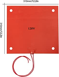 Wisamic 310x310mm 120V 750W Silicone Rubber Heater with 3M Tape, Screw Holes for 3D Printer CR-10 CR-10S S3