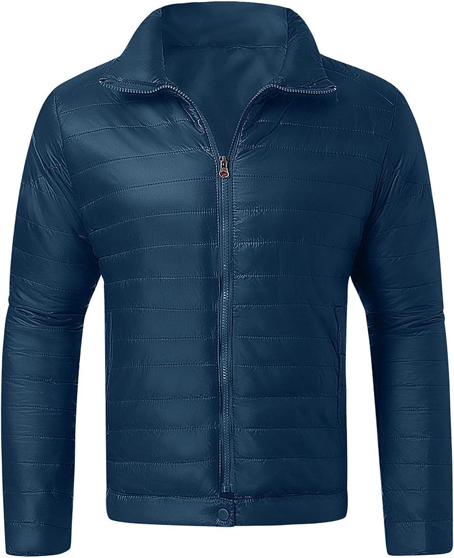 UBST Lightweight Down Puffer Jackets for Mens, Stand Collar Camo Cotton Padded Zipper Casual Warm Windbreaker Coats