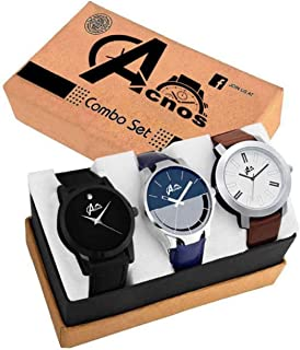 Acnos Analogue Men's Watch Multicolored Dial Multicolored Colored Strap (Pack of 3)