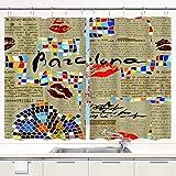 YUDILINSA Cortinas para Ventana de Cocina,Imitación Periódico Barcelona con Mosaicos Y Labios,Cortinas Cortas con Decoración de Ganchos para Baño,Paquete de 2,140x100cm