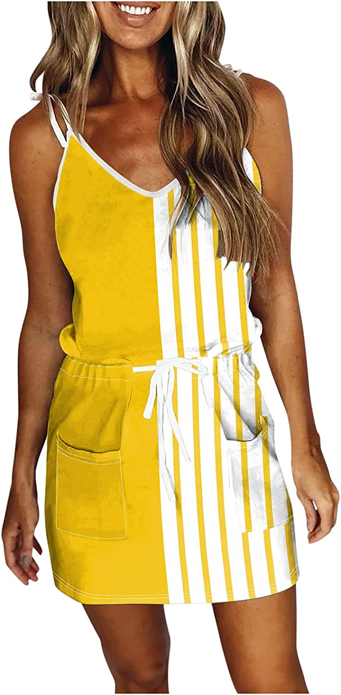 Oiumov Summer Dresses for Women Casual V-Neck Sleeveless Spaghetti Stripe Splicing Sling Strap Mini Boho Dress with Belt
