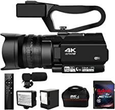 Camcorder 4K Ultra HD 48MP Video Camera for YouTube 30X Digital Zoom IR Night Vision Camcorder with Portable Handheld Stab...