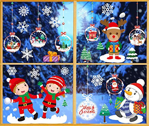 O-Kinee Navidad Pegatina de Pegatina Ventana de Pared Tienda De PVC Pegatina De Pared Decoració De Navidad Copos De Nieve Pared Decoración Pegatina de Pared (Navidad 6)