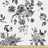 Ambesonne Black and White Fabric by The Yard, Vintage Floral Pattern Victorian Classic Royal Inspired New Modern Art, Decorative Fabric for Upholstery and Home Accents, 1 Yard, Black and White
