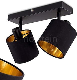 Lámpara de techo Alsen, de metal y tela, 2 focos, con focos ajustables, 2 bombillas E14 de máx. 28 W, con pantallas de tela, diseño retro y vintage, apta para LED
