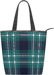 ISAOA Große Einkaufstasche aus Segeltuch, Retro-Design, schottisches Grün, kariert, Handtasche, Strandtasche, für Mädchen und Damen