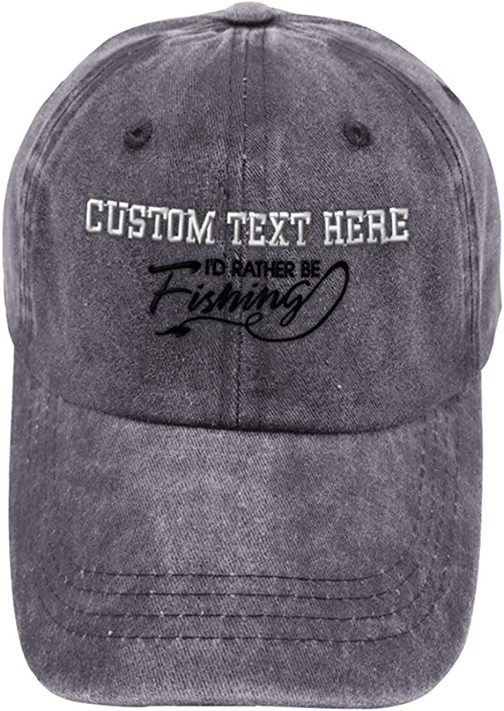 Custom Vintage Washed Hat I'd Sale Rather Embroidery Weekly update Be Fishing Black