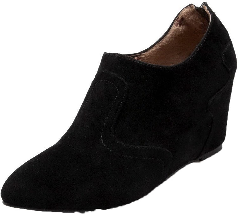 AllhqFashion Women's Solid Suede Kitten-Heels Pointed-Toe Zipper Pumps-shoes