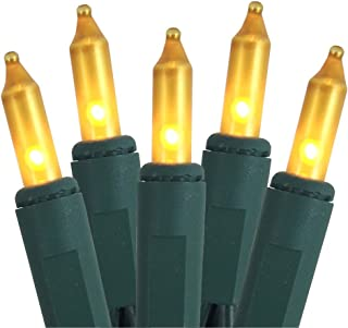J Hofert 100 Frosted Gold Christmas Lights on Green Wire, 18 Lighted Length, 20 Total Length, UL Approved for Indoor/Outdoor Use