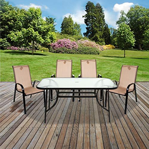 Marko Outdoor Cream Textoline Garden Furniture Set Outdoor Patio Round Rectangular Bistro Table Chairs Seating (5PC Rectangular Set)