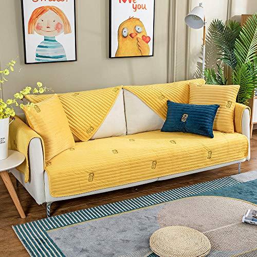YUTJK Cotton Printed Corner Sofa Slipcover,Living Room Fabric Sofa Seat Covers,Furniture Protector Cover,Puede ser Alfombra,Funda de sofá de Terciopelo con Estampado de piña-Amarillo_Los 70×180cm