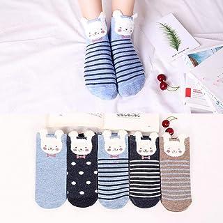 HPPL - 5 Pares de Calcetines para Mujer de algodón Suave para el Dibujo Animado Kawaii, Calcetines para Mujeres Ocasionales, Calcetines Divertidos, para Mujer