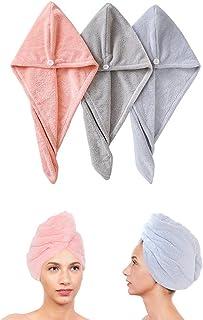 3 Pack Hair Towel Wrap Turban Microfiber Drying Bath Shower Head Towel Quick Dryer Dry Hair Hat Wrapped Bath Cap Thicken (...