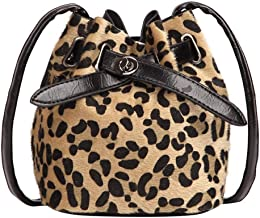 WILLTOO Drawstring Handbag Bucket Bag Leopard Print PU Crossbody Bag Shoulder Bag for Women
